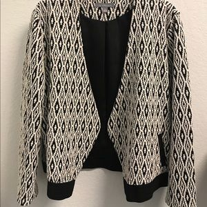 NY Collection Jackets & Coats - Black and white woven knit blazer